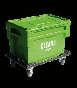 CLEAN BOX mobilny z pokrywą i koszem na wózku z hamulcami