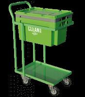 CLEAN BOX z pokrywą, koszem i wózkiem z 4 kołami skrętnymi